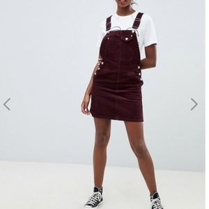 ASOS DESIGN Tall cord overall dress in oxblood